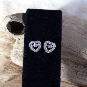 Sterling Silver White CZ Heart Earrings Valentines